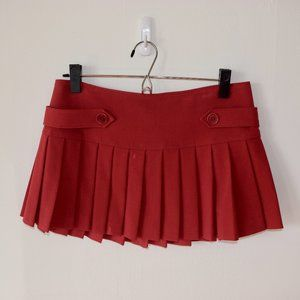 BCBG red pleated mini skirt
